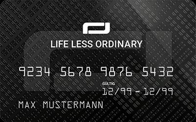 Ansicht einer LIFE LESS ORDINARY-Mitgliedskarte